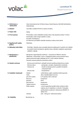 Lactofeed 70 Bezpečnostní list