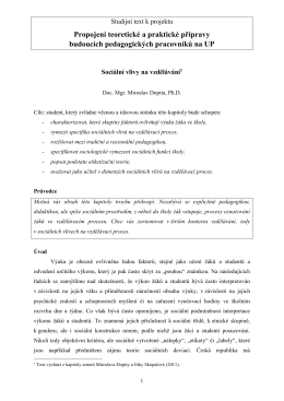 Sociální vlivy na vzdělávání - Univerzita Palackého v Olomouci