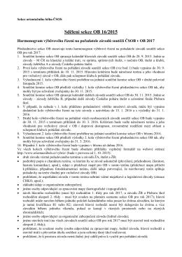 Sdělení sekce OB 16/2015