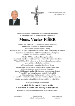 Mons. Václav FIŠER - Římskokatolická farnost Šlapanice