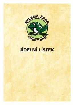 jídelní lístek Sportbar Zelená Žába
