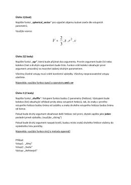 """Úloha 1(1bod) Napište funkci """"spherical_sector"""" pro výpočet objemu"""