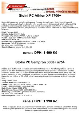 Stolní PC Athlon XP 1700+ cena s DPH
