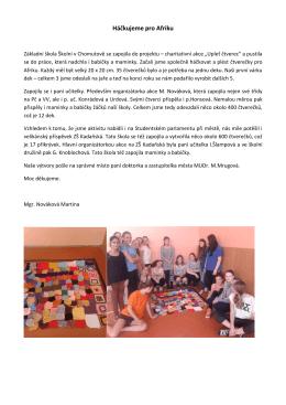 Háčkování - Základní škola Chomutov, Školní