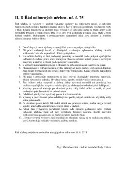 II. D Řád odborných učeben– uč. č. 75