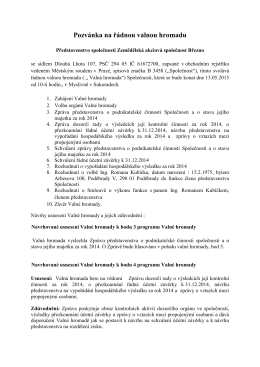 Pozvánka VH 2015 - Zemědělská akciová společnost Březno