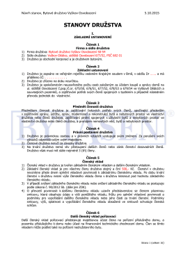 Návrh stanov pro vznikající bytové družstvo na Sídlišti Osvobozeni