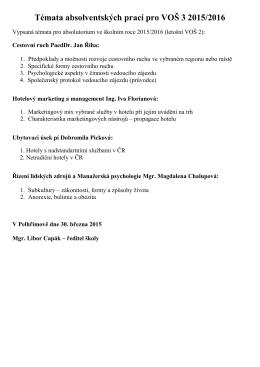 Témata absolventských prací pro VOŠ 3 2015/2016