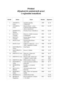 Přehled dějepisných seminárních prací s regionální tematikou