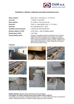 Osvědčení o řádném a odborném provedení stavebních prací