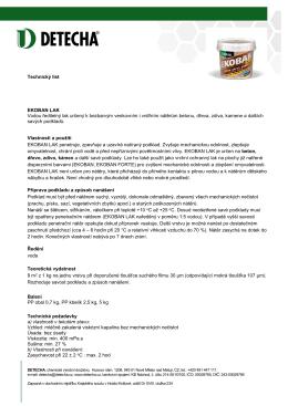 Technický list EKOBAN LAK Vodou ředitelný lak určený k