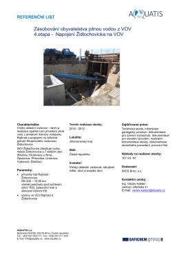 Zásobování obyvatelstva pitnou vodou z VOV 4.etapa