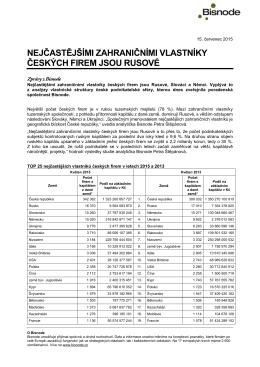nejčastějšími zahraničními vlastníky českých firem jsou