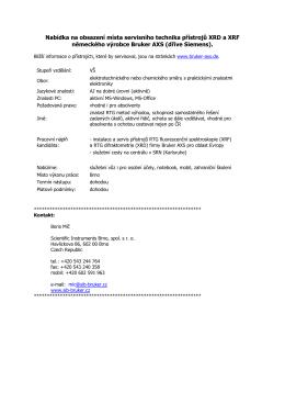 Nabídka na obsazení místa servisního technika přístrojů XRD a XRF