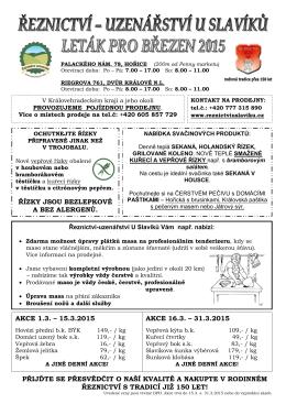 akce 1.3. – 15.3.2015 - Reznictvi Uzenarstvi U SLAVIKU