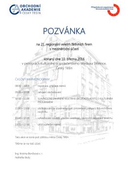 Pozvánka a propozice - Obchodní akademie Český Těšín
