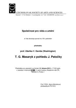 T. G. Masaryk z pohledu J. Patočky