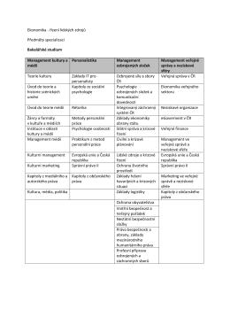 řízení lidských zdrojů Předměty specializací Bakalářské