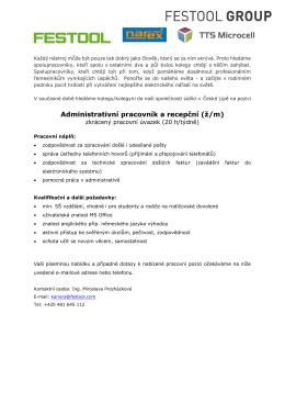 Administrativní pracovník a recepční (ž/m)