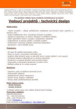 Vedoucí projektů – technický design