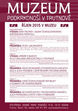 ŘÍJEN 2015 V MUZEU - Muzeum Podkrkonoší v Trutnově