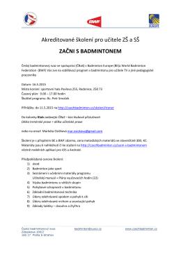 Akreditované školení pro učitele ZŠ a SŠ ZAČNI S BADMINTONEM