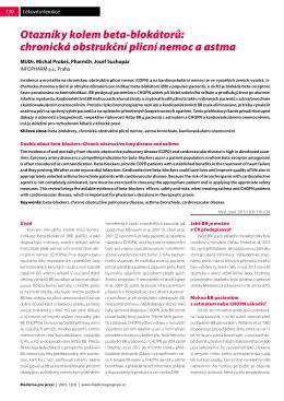 Otazníky kolem beta-blokátorů: chronická obstrukční plicní nemoc a