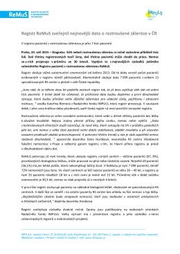 Registr ReMuS zveřejnil nejnovější data o roztroušené skleróze v ČR