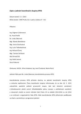 Zápis z jednání koordinační skupiny ze dne 5. 3. 2015