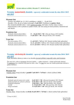 termíny maturitních a závěrečných zkoušek v září 2015