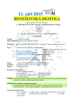 13. září 2015 - Benešovská desítka
