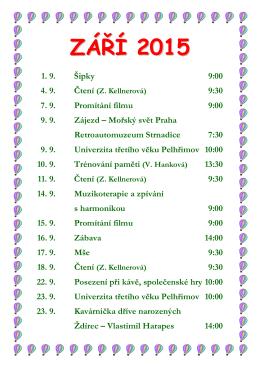 Program na měsíc ZÁŘÍ 2015