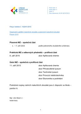Písemné MZ – společná část 1. – 7. září 2015 podle jednotného