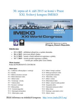 30. srpna až 4. září 2015 se koná v Praze XXI. Světový kongres IMEKO