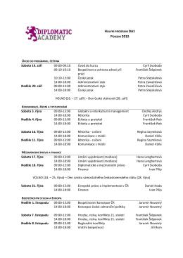 Sobota 19. září 09:00-09:10 Úvod do kurzu Cyril Svoboda 09:10