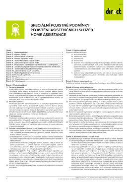 Speciální pojistné podmínky Pojištení asistencních služeb HOME