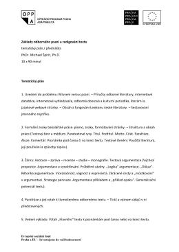 Základy odborného psaní a redigování textu