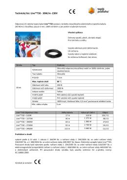 Technický list: Line™T30 - 30W/m -230V