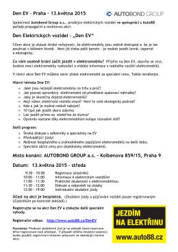 Den EV – Praha – 13.května 2015 Den Elektrických vozidel