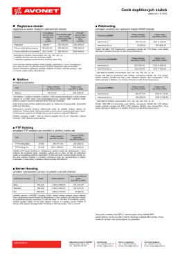 Ceník doplňkových služeb platný od 1. 6. 2015