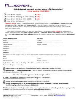 Objednávkový formulář – Snow & Fun Card