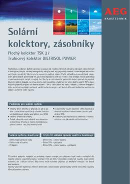 Solární kolektory, zásobníky - ATEG TEPELNÁ