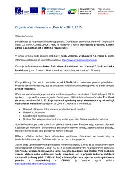 """Organizační informace – """"Den A"""" – 26. 5. 2015"""