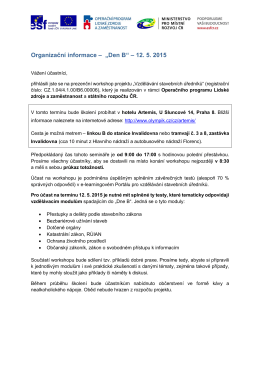 """Organizační informace – """"Den B"""" – 12. 5. 2015"""
