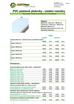 PVC plastové plotovky - ostatní rozměry - ALTOtec