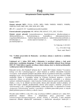 Velvyslanectví České republiky Vídeň Gestor: ODEV Ostatní adresáti