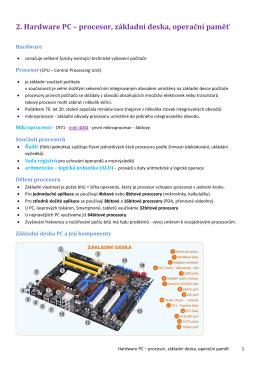 2. Hardware PC – procesor, základní deska, operační paměť