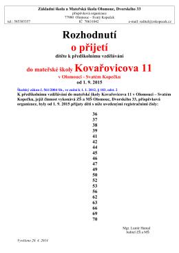 Rozhodnutí o přijetí - ZŠ a MŠ Olomouc, Dvorského 33