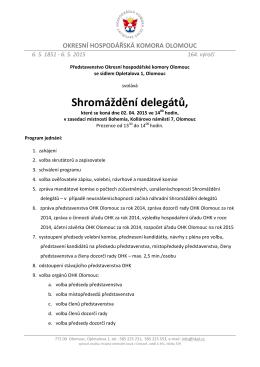 Pozvánka na Shromáždění delegátů