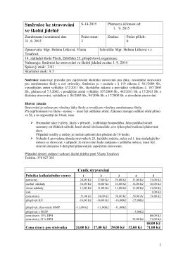 Směrnice pro stravování s platností a účinností od 1. 9. 2015